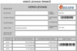 vergi levhası örneği ekran görüntüsü