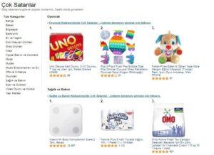 internette en çok satılan ürünlerden Amazon Türkiye'nin çok satanlar ekran görüntüsü