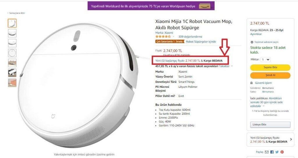 e-ticarette buybox örneklerinden Amazon Buybox ekran görüntüsü