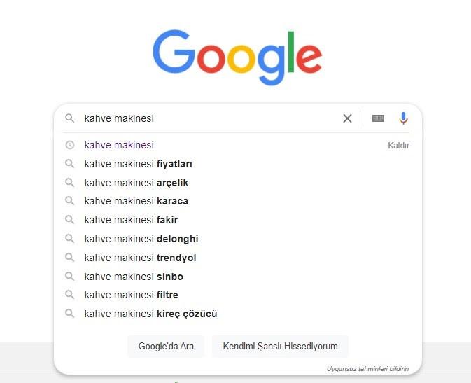 ürün açıklaması yazarken anahtar kelime bulmak için Google'dan faydalanma ekran görüntüsü