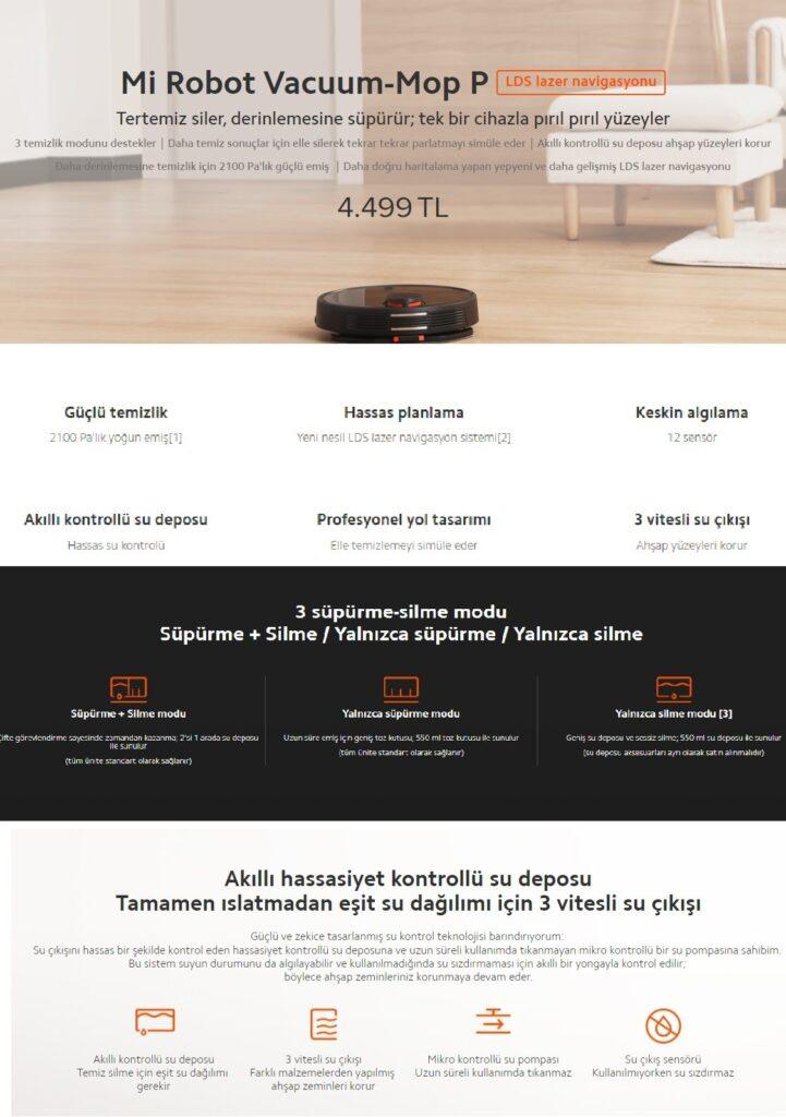 robot süpürge kategorisinde ürün açıklaması örneği ekran görüntüsü